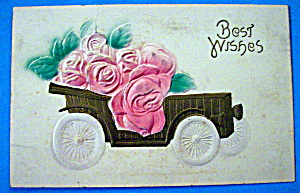 Best Wishes Postcard With Wagon Filled With Roses