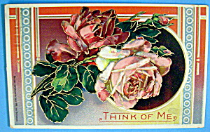 Think Of Me Postcard With A View Of Roses (Embossed)