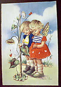 Thinking Of You Postcard With 2 Kids Looking At Plant