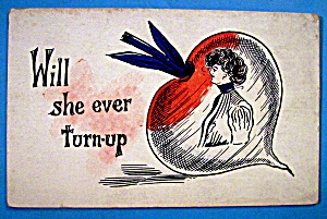 Thinking Of You Postcard With Woman In A Turnip