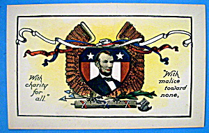 Abraham Lincoln Postcard (Charity & Malice)