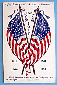 Stars & Stripes Forever Postcard With 2 Flags Crossed