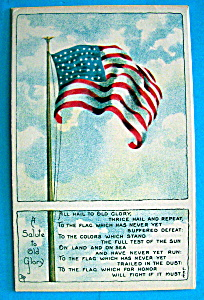 A Salute To Old Glory Postcard w/American Flag on Pole (Image1)