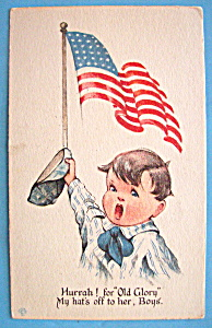 Old Glory Postcard with Boy Holding His Hat & Flag (Image1)