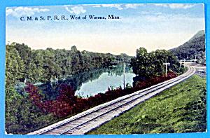 C.M & ST. P.R.R West of Winona, Minnesota Postcard (Image1)