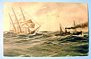 Two Ships on Rough Waters Postcard (Image1)