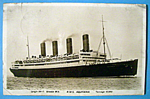 R.M.S. Aquitania Ship Postcard (Image1)