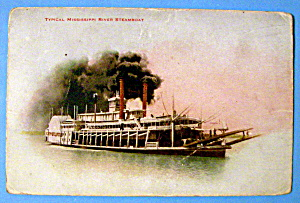 Typical Mississippi River Steamboat Postcard (Image1)