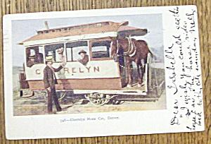 Cherrelyn Horse Car Postcard (Horse Car in Denver) (Image1)
