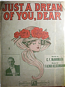 Sheet Music Of 1910 Just A Dream Of You, Dear