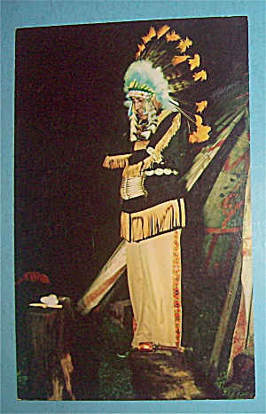 Indian Scout (Standing With Indian Headdress) Postcard