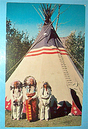 Indian Braves & Tepee Postcard
