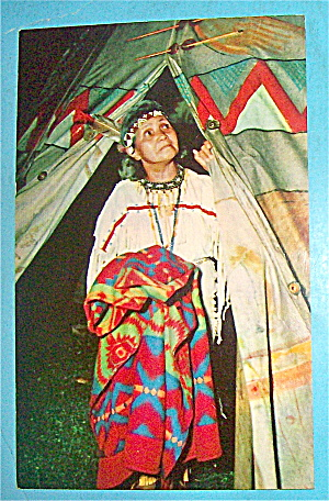 Indian Woman Looking Up Postcard