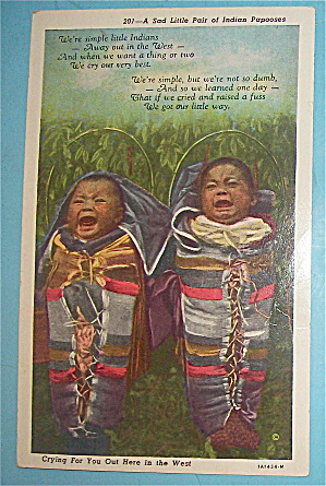 A Sad Pair Of Indian Papooses Postcard