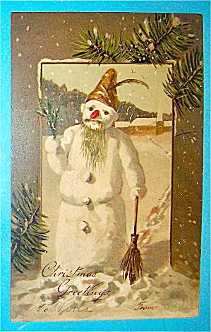 Christmas Greetings Postcard w/Cute Snowman (Image1)