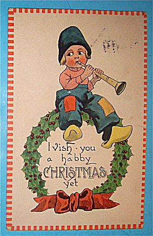 Wishing You Christmas Cheer Postcard with Boy & Flute (Image1)