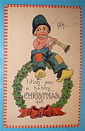 Wishing You Christmas Cheer Postcard with Boy & Flute (Image1)