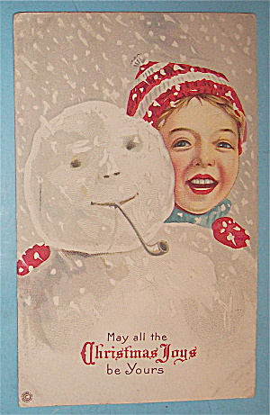 Christmas Joys Postcard w/ Cute Boy & Snowman (Image1)