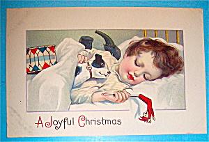 A Joyful Christmas Postcard with Girl Sleeping (Image1)