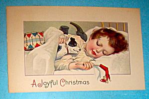 A Joyful Christmas Postcard with Little Girl Sleeping (Image1)