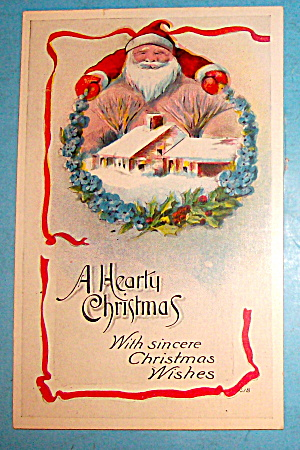 A Hearty Christmas With Santa Claus Postcard (Image1)