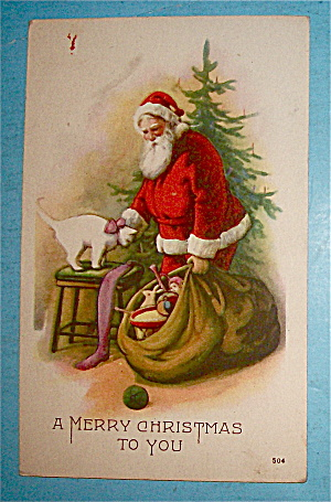 Merry Christmas Postcard w/Santa Claus Petting Cat (Image1)