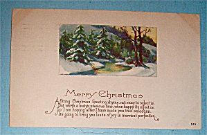 Merry Christmas Postcard w/ View of Pine Trees & Stream (Image1)