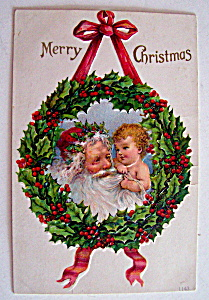 Merry Christmas Postcard w/Santa Claus & Baby (Image1)