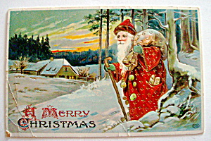 A Merry Christmas Postcard w/Santa Claus Walking (Image1)