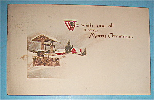 Merry Christmas Postcard w/Well Covered in Snow (Image1)