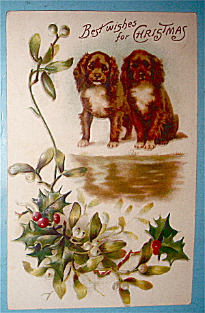 Best Wishes Christmas Postcard with 2 Dogs (Image1)