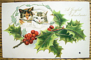 A Joyful Christmas Postcard with Dog & Cat (Image1)