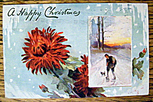 A Merry Christmas Postcard w/Boy Walking in Snow (Image1)
