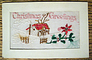 Christmas Greetings Postcard with House (Embossed) (Image1)