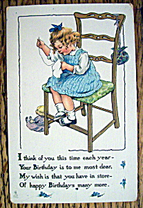 Birthday Children Postcard By Tuck's with Girl Sewing (Image1)