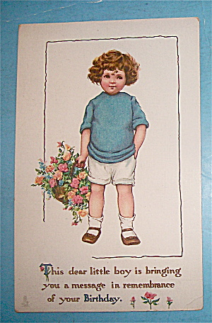 Birthday Children Postcard By Tuck's with Girl & Basket (Image1)