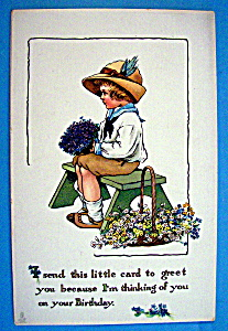 Birthday Children Postcard By Tuck's with Child Sitting (Image1)