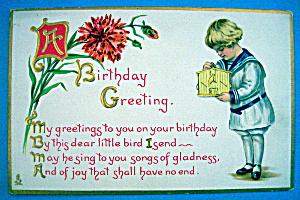 Birthday Children Postcard (Boy Holding Birdhouse) (Image1)