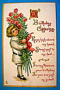 Birthday Children Postcard (Child Holding Bouquet) (Image1)