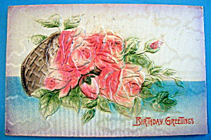 Birthday Greetings Postcard with Basket Of Flowers (Image1)