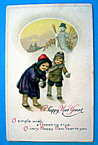 Happy New Year Postcard with Children & Snowman (Image1)
