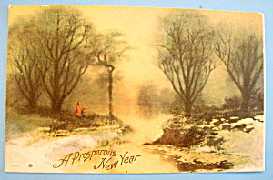 A Prosperous New Year Postcard with Wooded Scene (Image1)