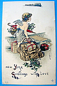 New Years Greetings with Love Postcard with an Angel (Image1)