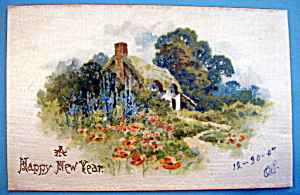A Happy New Year Postcard with House & Flowery Scene (Image1)