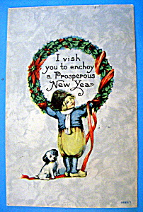 A Happy New Year Postcard with Girl Holding Wreath (Image1)