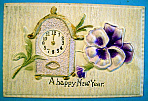 A Happy New Year Postcard with a Clock & Flowers (Image1)