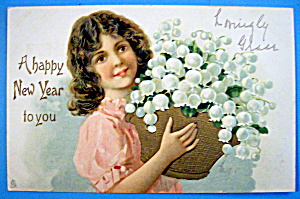 A Happy New Year Postcard By Tuck's w/Woman & Basket (Image1)