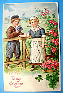 To My Valentine Postcard with Boy Giving Girl Flowers (Image1)