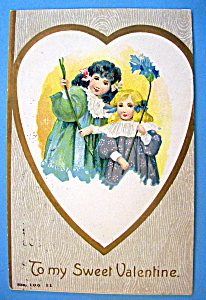 To My Sweet Valentine Postcard with Two Girls in Heart (Image1)