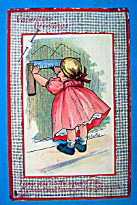 Valentine's Greeting Postcard By Tuck with Girl Drawing (Image1)